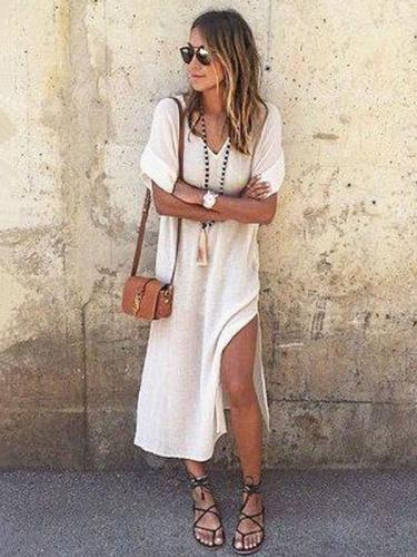 Simple Split-side V-neck Midi Dress
