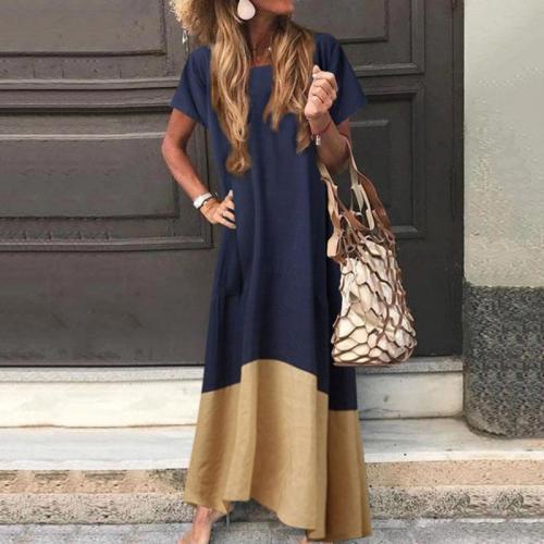 Casual Loose Color Block Short Sleeve Maxi Dress