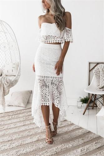 Casual Sexy Backless   Lace Skirt With Blouse Two Piece Suit