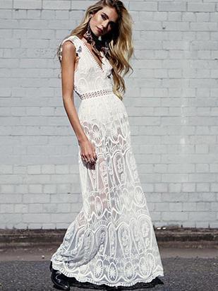 Lace Deep V-neck Backless Hollow Maxi Dress