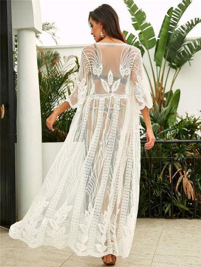 Lace Loose Embroidered Solid Sun-protection Cover-up