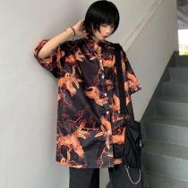 Chic Short Sleeve Shirt Fashion Casual Turn-down Collar Tops Women Blouses Printed Shirt