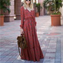 Casual Sexy Deep V Neck Printed Vacation Dresses