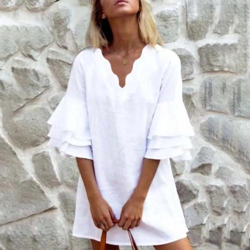 Fashion Pure White V-Neck 3/4 Sleeve Loose Mini Dress