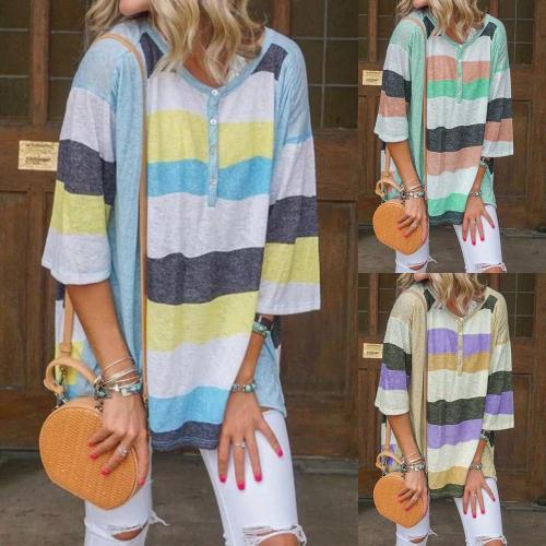 Striped Loose Casual Round Neck Casual T-shirt