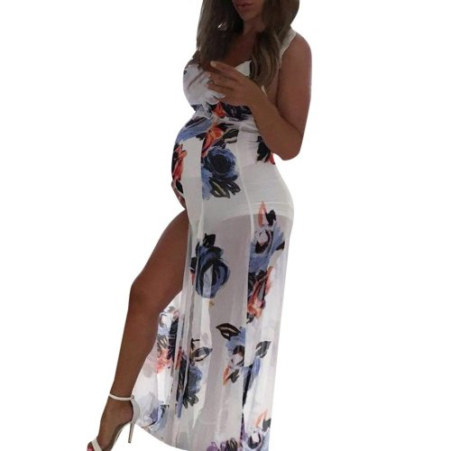Women's 2020 Summer Pregnant Maternity Sleeveless Sexy Vest Straps Dress Suspender Floral Print Dress Pregnancy Sundress