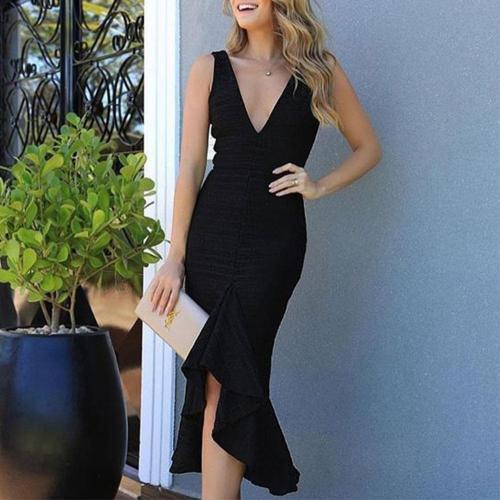Fashion Falbala V Collar Elegant Bodycon Dress