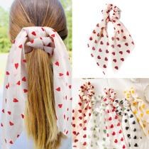 2020 Women summer Heart Print Scrunchie DIY Hair Scarf Elastic Hairband Ribbon Bow Hair Rubber Ropes Girls Hair Ties Accessories