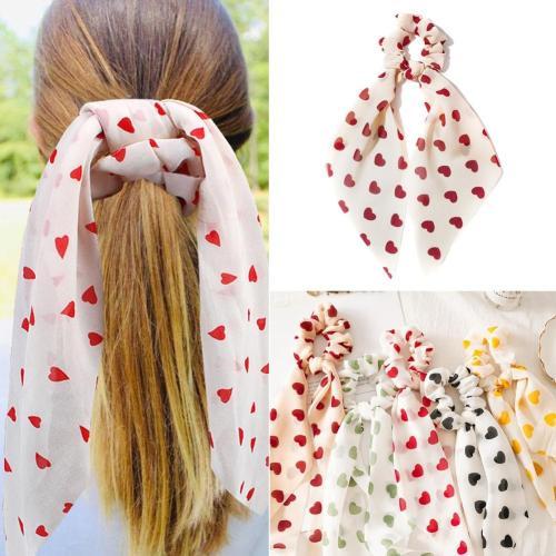 2020 Women summer Heart Print Scrunchie DIY Hair Scarf Elastic Hairband Ribbon Bow Hair Rubber Ropes Girls Hair Ties Accessories