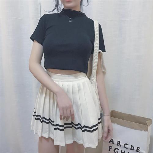 Vintage Slim Solid Short Sleeve T Shirts Crop Top