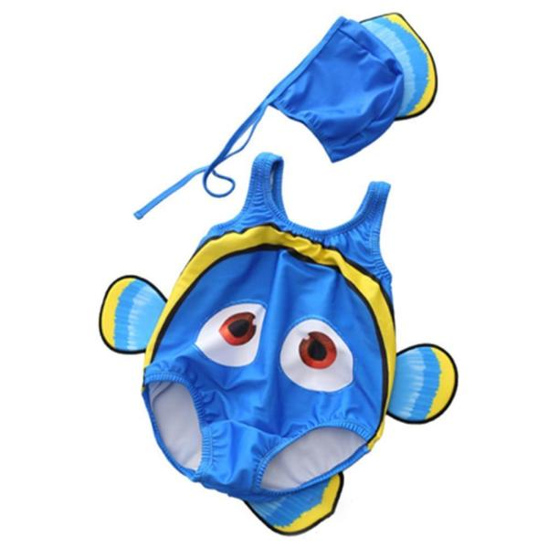 Toddler Baby Boy Girl Clown Fish Swimsuit Onepiece Swimwear with Swim Hat