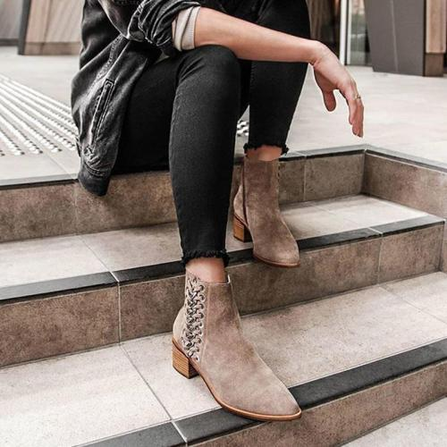 Women's Fashion Solid Color Suede Metal Decorative Ankle Boots