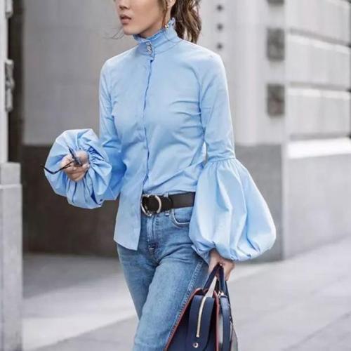 Elegant Fashion Slim Plain High Collar Long Sleeve Puff Cuff Button Front Blouse