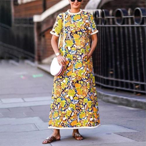 Fashion Round Collar Short Sleeved Printed Casual Maxi Dress