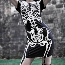 Summer Sexy Gothic Adult Women Halloween Scary Black Skull Printed Mini Dress Short-Sleeve Skeleton Party Punk Cosplay Costumes