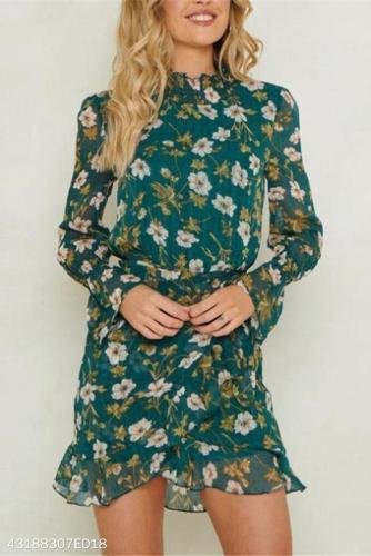 Fashion Nifty Slim Floral High Collar Long Sleeve Shift Dress
