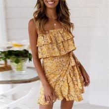 Summer Floral Printed Off Shoulder Ruffled Mini Dress