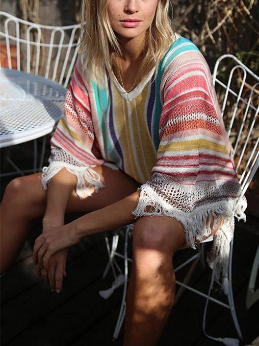 Beach Striped Tasseled Cover-ups Swimwear