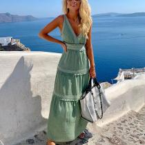 Fashion Deep v-neck Solid Color Sleeveless Stitching Casual Maxi Dress