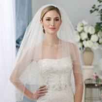 Women Bridal Veil Two layers 75cm Length With Comb White Ivory Tulle Wedding Veil for wedding Party Beaded Edge