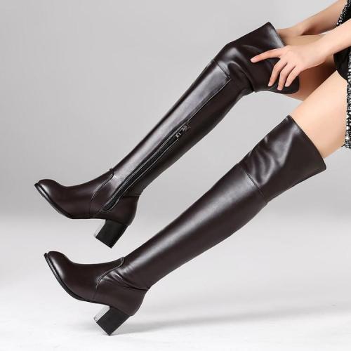 Pointed Toe Low Chunky Heels Side Zipper Overknee Long Boots