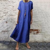 Casual Pure Color Round Neck Vacation Maxi Dress