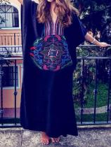 V-neck Embroidered Vacation Swimwear Cover-ups
