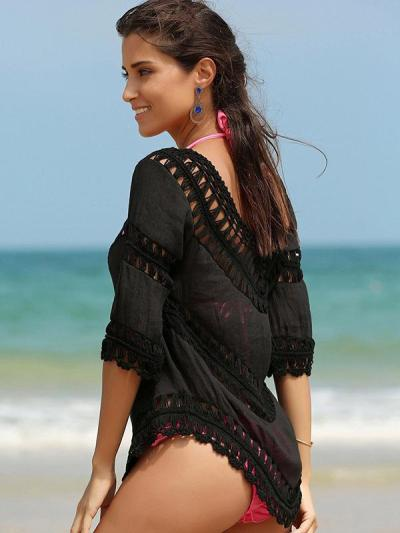 Sexy Hollow Short Sleeves Cover-Ups Swimwear