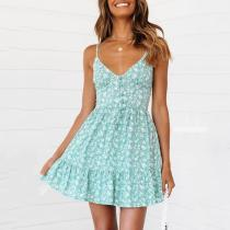 Small Floral Button Sling V-Neck   Mini Dress