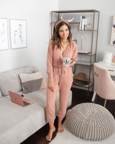 EBUYTIDE Comfy And Soft Wrap Lounge Jumpsuit