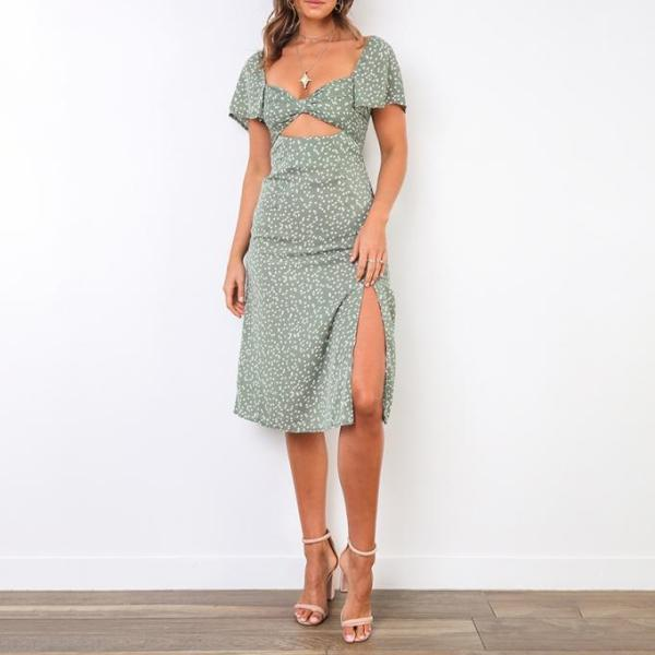 Printed Split Cutout Casual Vacation Dress