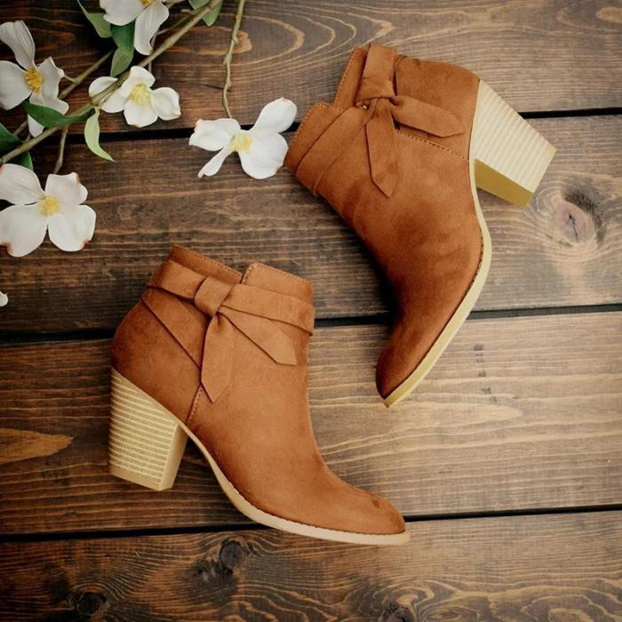 Brief Women Solid Color Thick Heel Bow Boots wq14