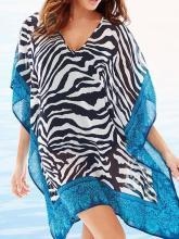 Chiffon Stripes Beach Vacation Sleeveless V Neck Mask Cover-ups