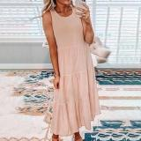 Simple Solid Color Round Neck Sleeveless Splice Pleated Dress