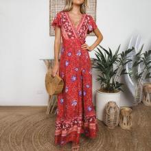 Deep V Print Holiday Split Maxi Vacation Dress