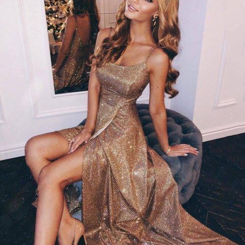 Sparkling Sling With A Slit Evening Dress