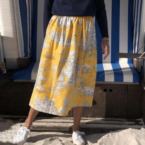 Women's hight waist print semi-body skirt RY58