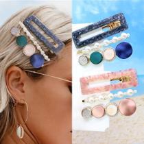 3PCS/Set Fashion Pearls Acetate Geometric Hair Clips For Women Girls Headband Sweet Hairpins Barrettes Hair Accessories Set