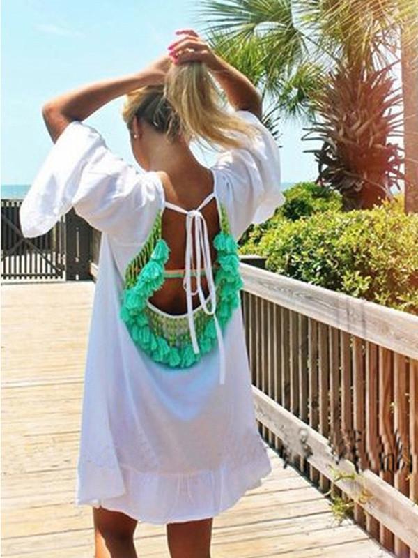 Fashion Loose Half Sleeve Round Neck Tassel Off-Back Mini Dress