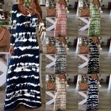 Women Robe Maxi Dress Long Sleeve V-Neck Tie-Dye Striped Loose Long Dress