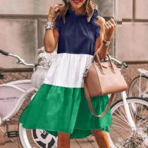 Casual Round Neck Sleeveless Color Block Mini Dress