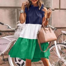 Casual Round Neck Sleeveless Color Block Mini Dress