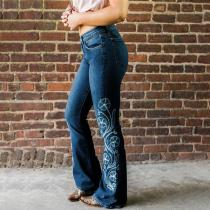 Fashion floral embroidery high waist long bell jeans