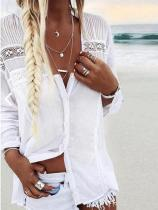 Solid Casual Polyester V-Neckline Long Sleeve Blouses