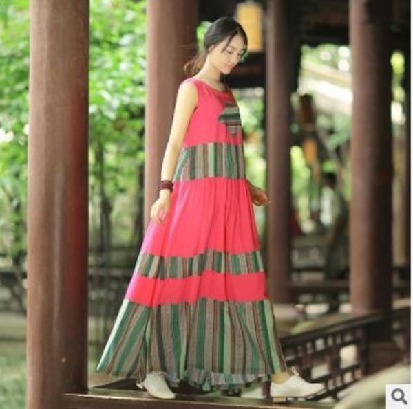 A Line Linen Dress with Patchwork Stripes