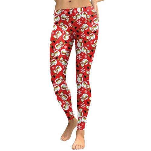 Snowman Colorful Print Women Mid Waist Christmas Party Leggings Pants