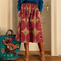 Fashion print A-line vacation skirt RY58