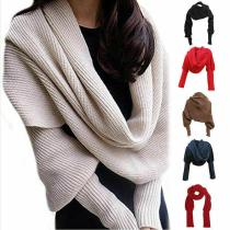 Women Scarf 2020 Winter Fashion Knitted Long Sleeve Wrap Shawl Solid Casual Elegant Lady Scarves