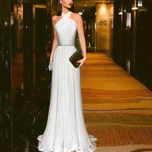 Elegant Hanging Neck Pure White Evening Maxi Dress