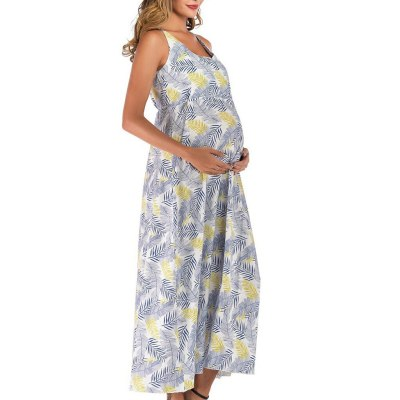 Summer New Fashion Womens Pregnant Deep V-Neck Foral Print Sash Maternity Long Dress